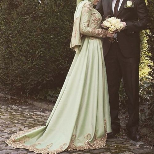 fashion, hijab, and wedding dress image