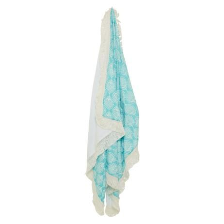 Beach Towel in Seabreeze Blue and White