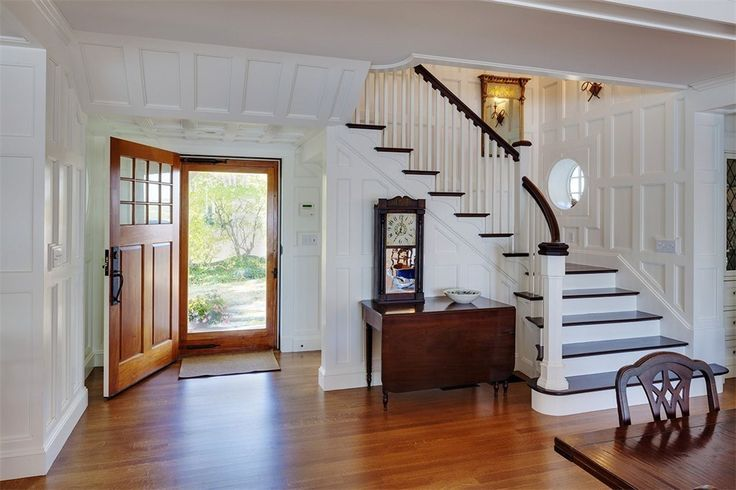 Entryway & staircase of luxury home in Manchester, Massachusetts