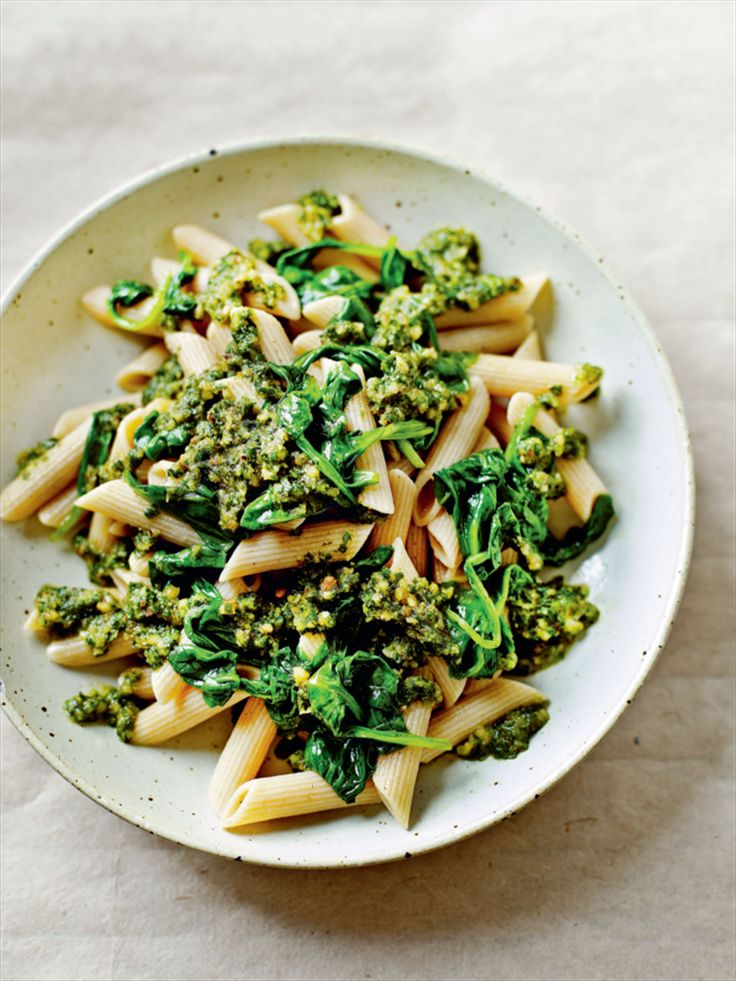 Wholewheat pasta with walnut pesto and baby spinach