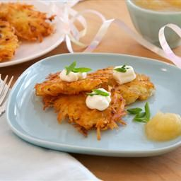 Butternut Squash Latkes with Sage and Pine Nut Yogurt Sauce on BigOven ...