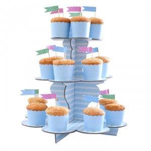 Köp Muffinsställning Ljusblårandig hos Partytajm