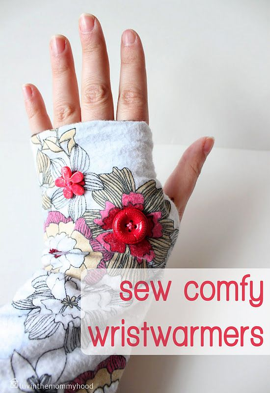 WristWarmer tutorial from t-shirt, extra fabric and embellishments (buttons) #luvinthemommyhood #wrist #fingerless gloves