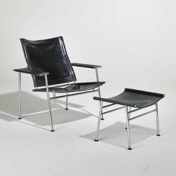 Yrjo Kukkapuro Chromed Steel And Leather Lounge Chair And