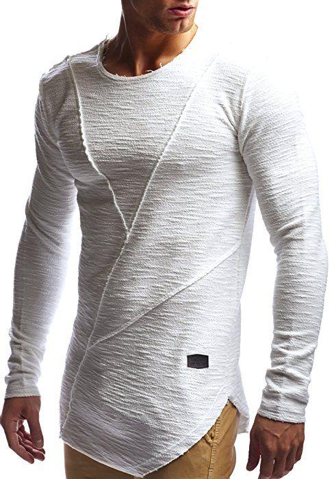 LEIF NELSON Herren oversize Sweatshirt Hoodie Hoody LN6323; Grš§e S, Ecru