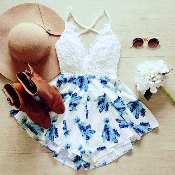 Casual White & Blue Floral Print Romper