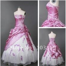 2014Total New Style Ball Gown Strapless Appliqued Taffeta / Organza Two Tones Bridal Gowns(China (Mainland))