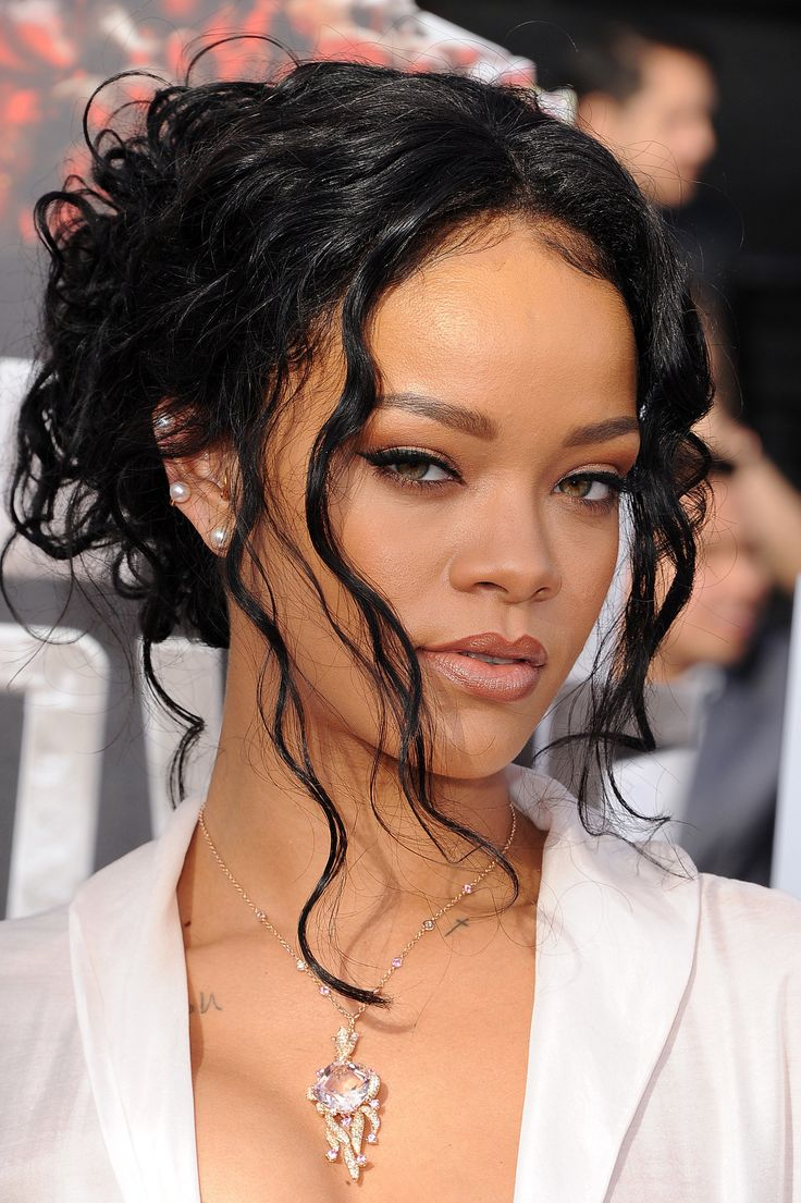 Rihanna's artfully undone updo and flawless makeup