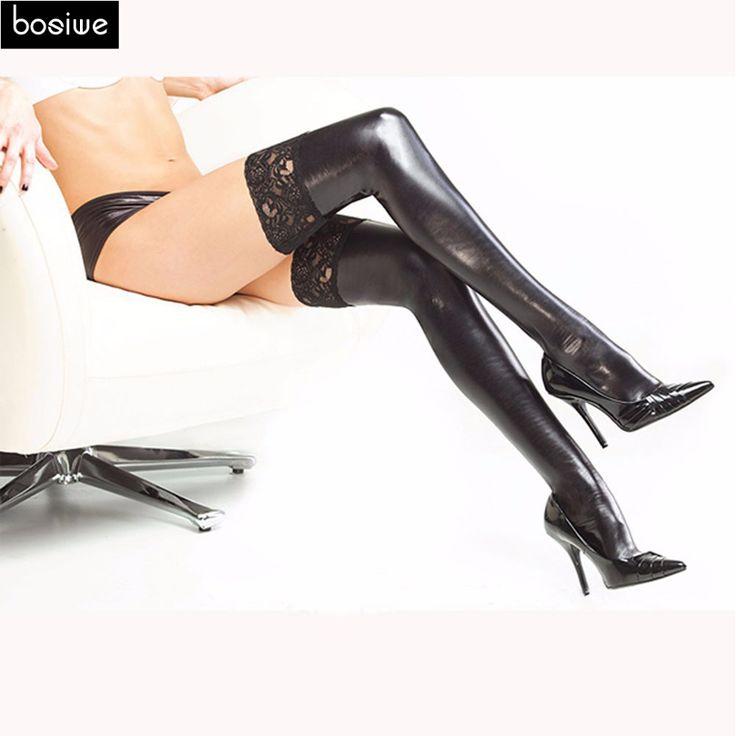 Geschlechtsprodukt Für Frauen Sexy Dessous Schwarzer Spitze Strümpfe Sexy Lange Strümpfe Stretch PVC Leder Pole Dance Erwachsene Spiele