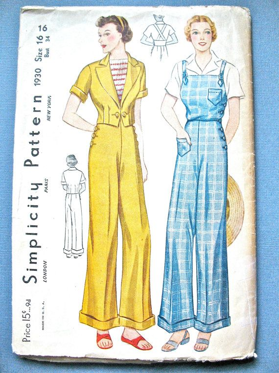 rare 1930s slacks  jacket and overalls pattern by simplicity  1930 nautical 30s beach wear pants