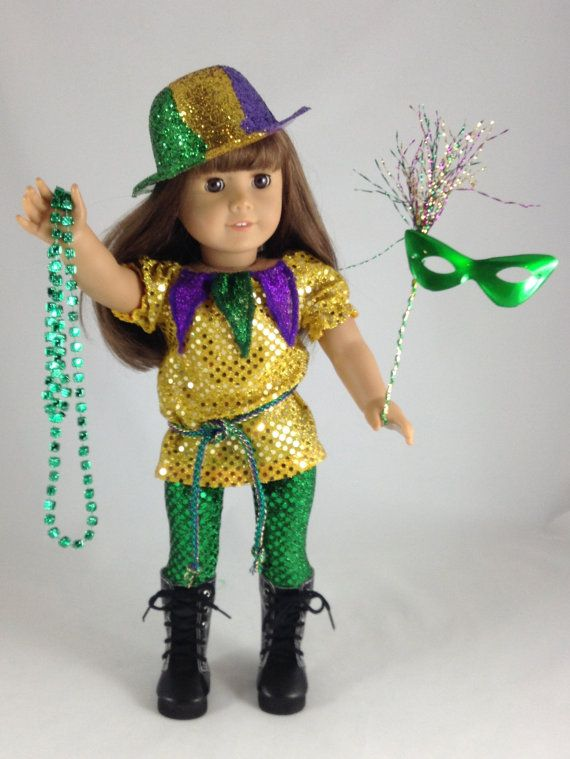 18T Holiday Wear Mardi Gras Outfit 3 Piece by MjsDollBoutique18T, $22.00
