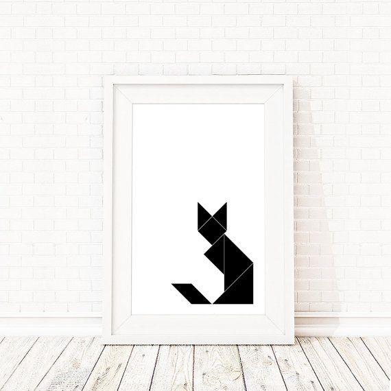 Tangram Poster Geometric Cat/Fox Print- Cat Print, black and white geometric print, abstract wall art, scandinavian print, minimalist poster