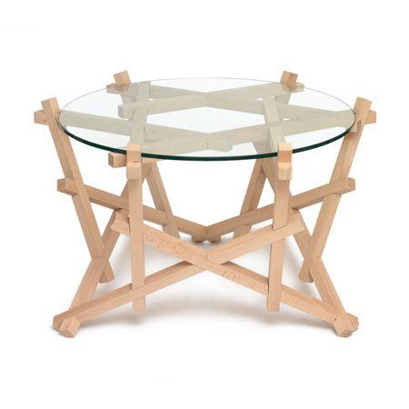 Bulgarian architect Petar Zaharinov has designed a table consisting of interlocking wooden slats.