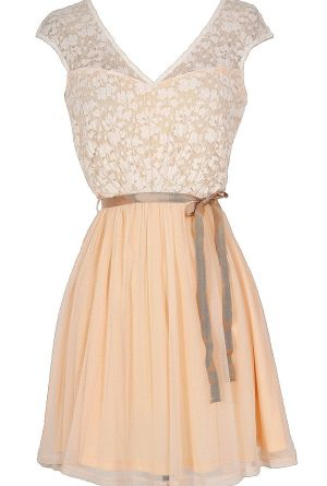 THIS IS THE SITE! I know I'm not getting married anytime soon, but when I do, THIS is where I want to get the bridesmaid dresses from! :D  Sonoma Sunset Lace Dress in Cream/Peach