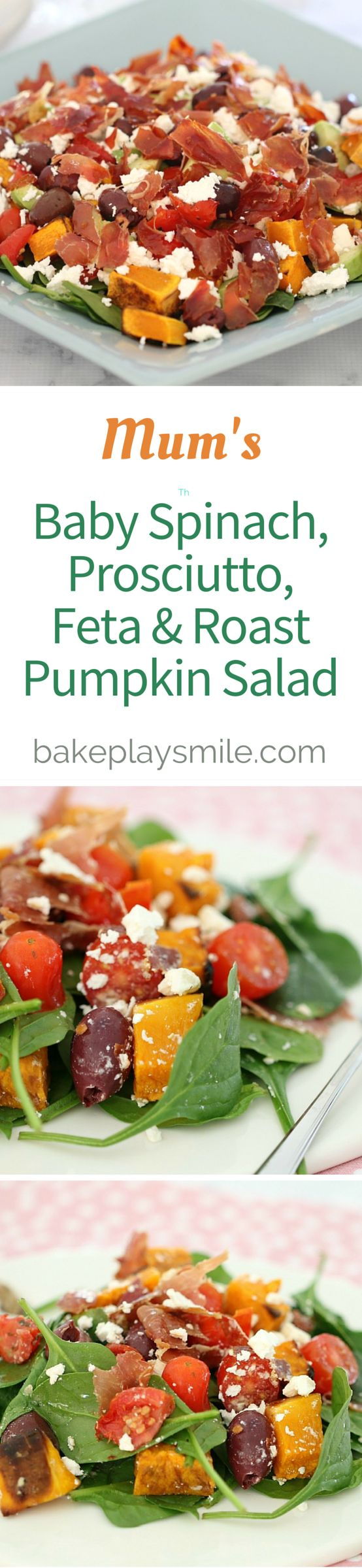 This is my Mum's salad recipe and it's AMAZING! Definitely my summer favourite - it's full of lots of yummy things: baby spinach, sundried tomatoes, olives, feta, prosciutto and roast pumpkin... Wow this sounds deliscious!