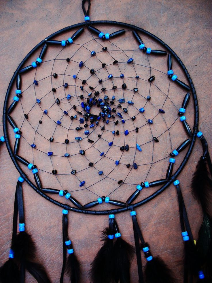 How To Make A Dreamcatcher | Large Black and Blue Dream Catcher by ~xsaraphanelia on deviantART: