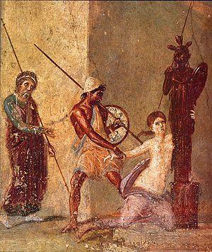 Pompeii: Ajax the Lesser drags Cassandra from the Palladium. Detail/ fresco in the atrium of the Casa del Menandro