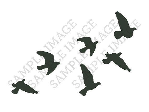 Flock of flying birds silhouette temporary tattoo (Each set = 6 birds) on Etsy, 54:24kr