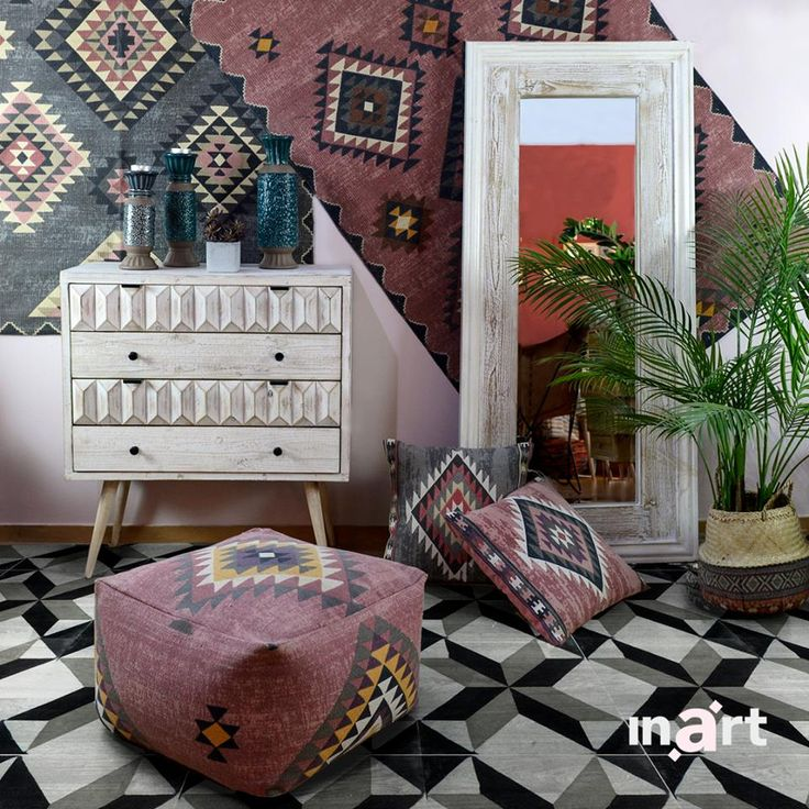 Colors and patterns mix all around to present a space that dares to differ. Dare you recreate it? More inspiration awaits at www.inart.com