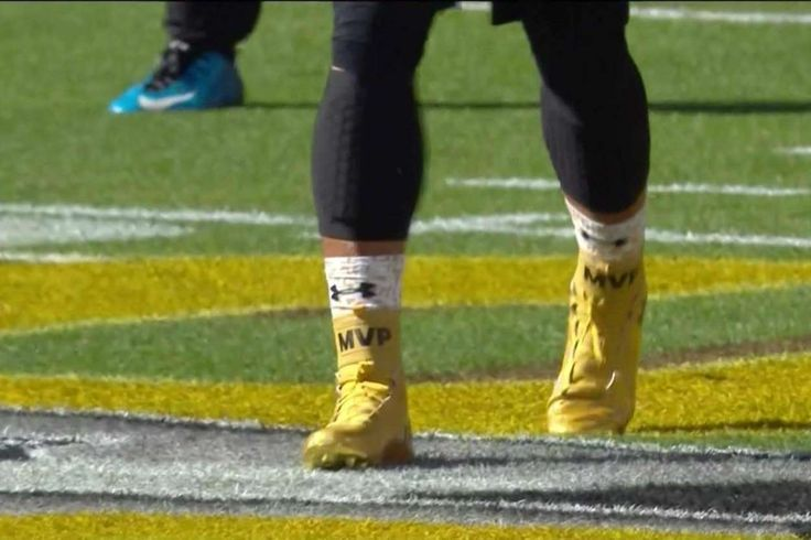 Cam Newton is wearing gold 'MVP' cleats during Super Bowl warmups ~ Congrats to Cam ... but I'm still for the Broncos.