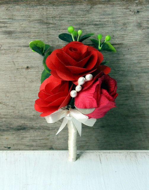 Red paper rose buttonhole...by www.thepaperflorists.com