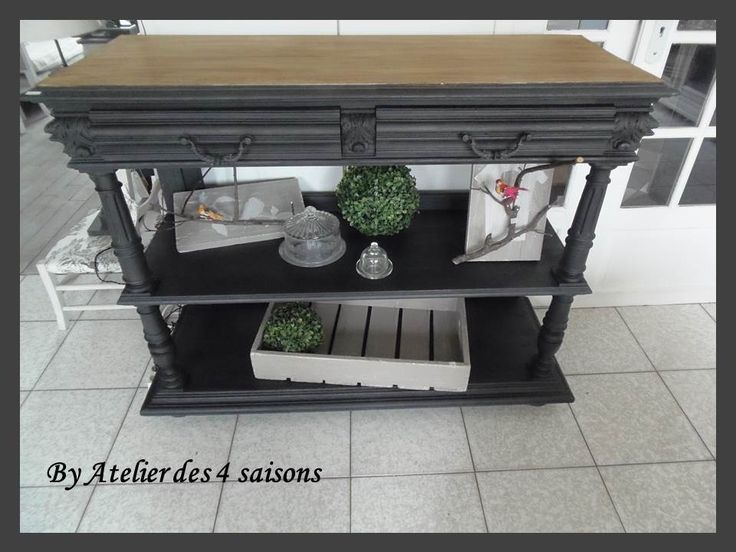buffet desserte console en ch ne patin gris ardoise plateau bois. Black Bedroom Furniture Sets. Home Design Ideas