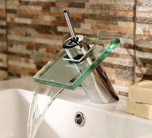 griferia monocomando cascada bajo de vidrio baño lavatorio
