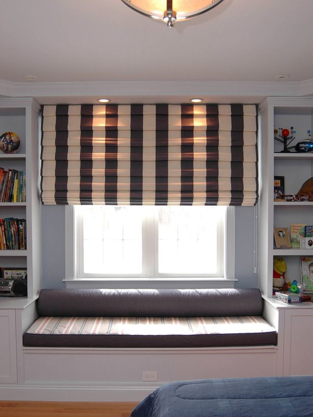 95 best images about built in bookcases on pinterest for Kids bedroom window treatments