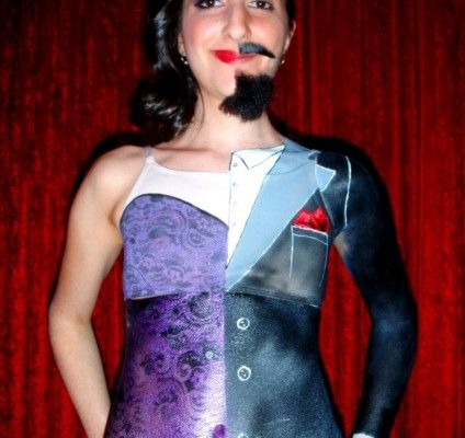 Airbrushed #circus entertainer! Half #man and half #woman. #airbrush #art #events #actor #bigtop #entertainment #brightideas