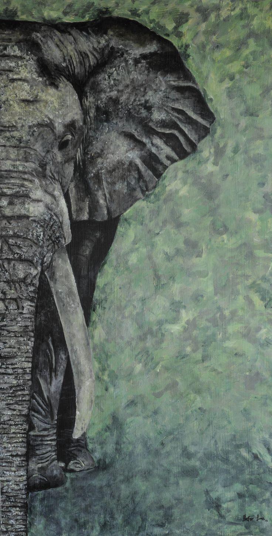 pintura al oleo de elefante, gris con verde,elefante blanco y negro. creado por mafer luna