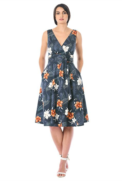 Hibiscus print cotton surplice dress #eShakti