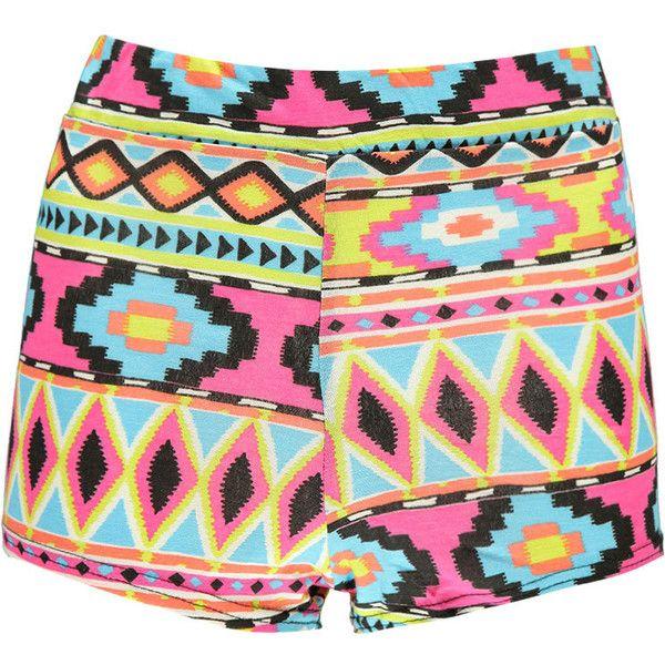 Boohoo Lyndsay Aztec Print Knicker Shorts ($7) ❤ liked on Polyvore featuring shorts, bottoms, pants, short, aztec print shorts, aztec shorts, rayon shorts and short shorts