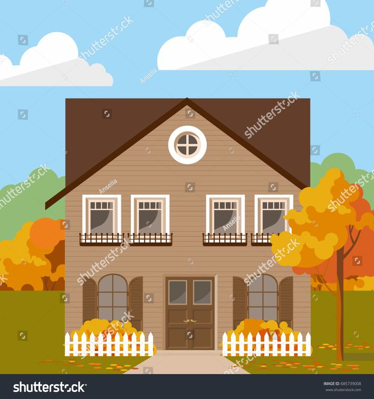 Family house with taupe lining facade in autumn. Vector illustration for web or promotional material