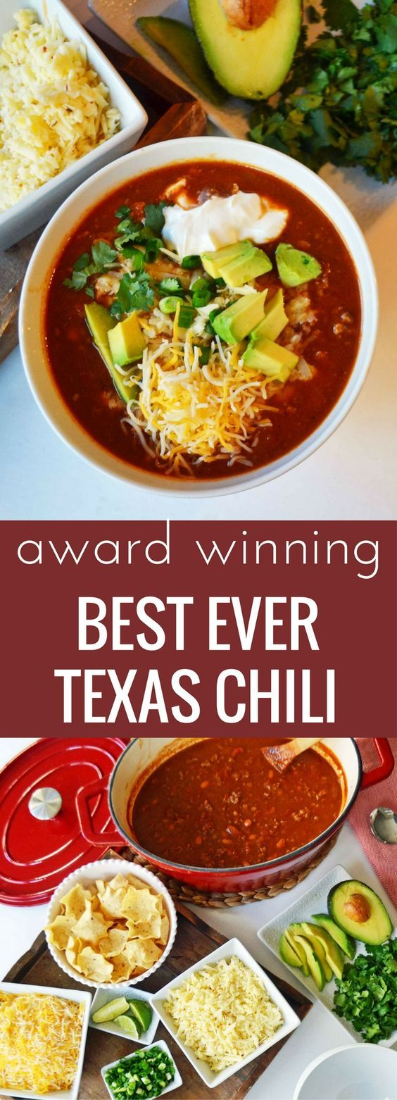 Award winning BEST EVER beef chili recipe. Plus ideas on how to make a Texas sized chili bar complete with all of the topping ideas. www.modernhoney.com