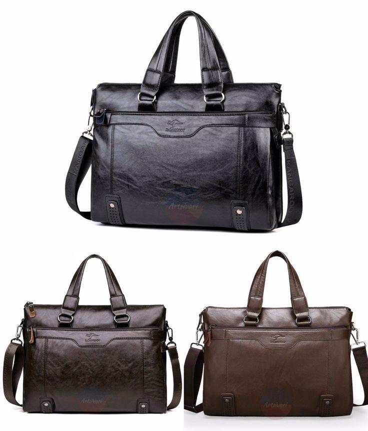 Artsivaris Men Business Briefcase Leather Laptop Computer Travel Messenger Bag | eBay