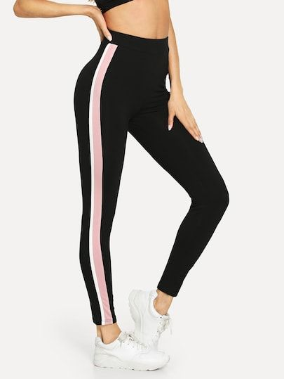 1b9f28cd85bc SHEIN Striped Side Leggings #leggings #legging #shein #sheinside ,leather  leggings ,leggings for girls high waisted leggings ,black leggings ,white  leggings ...