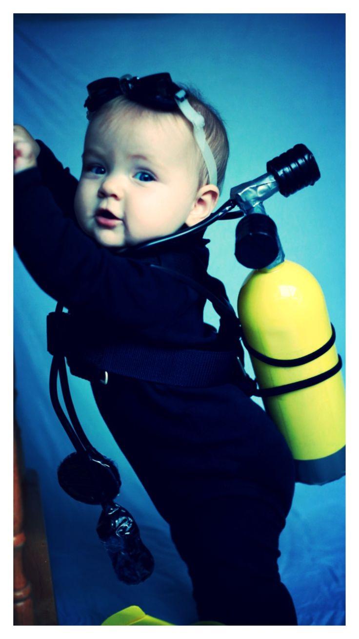 Best Baby Costume 2013!! Little Scuba Diver. DIY scuba tank from large water bottle.