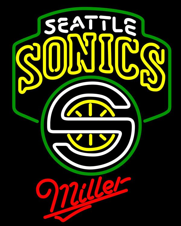 Miller Seattle Supersonics NBA Neon Sign, Miller with NBA Neon Signs | Beer with Sports Signs. Makes a great gift. High impact, eye catching, real glass tube neon sign. In stock. Ships in 5 days or less. Brand New Indoor Neon Sign. Neon Tube thickness is 9MM. All Neon Signs have 1 year warranty and 0% breakage guarantee.