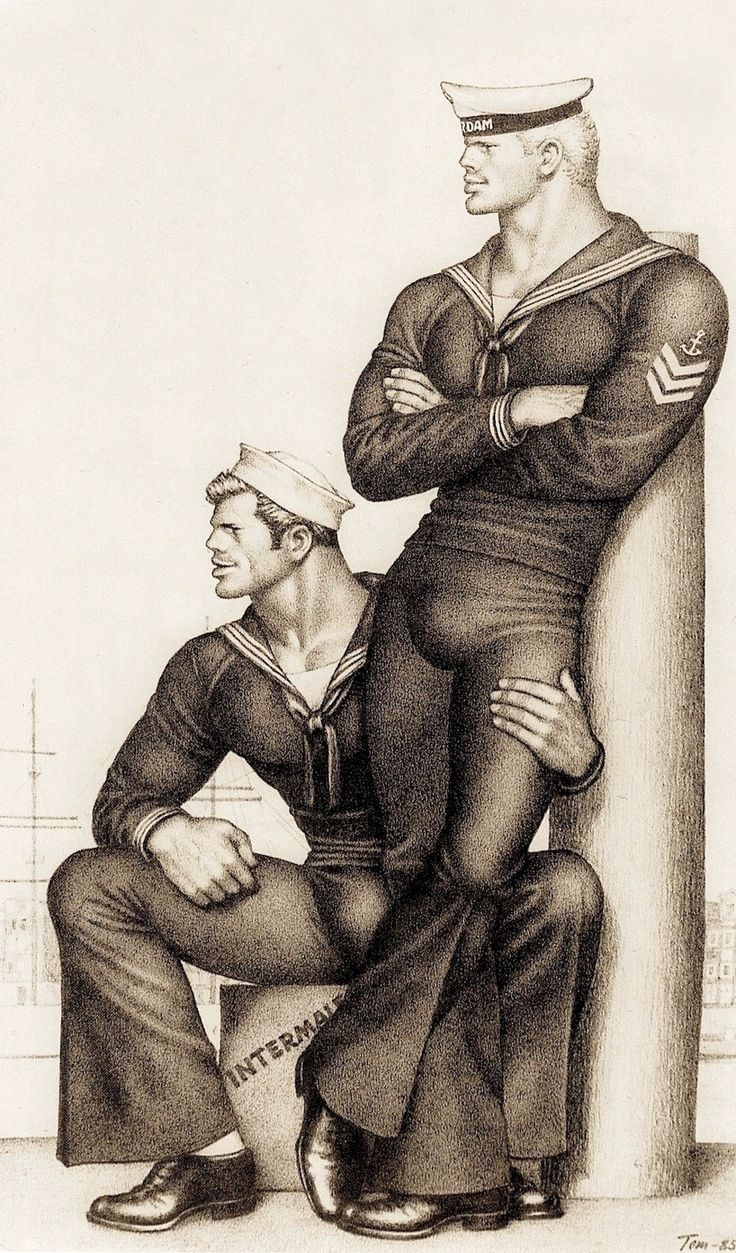 Two Sailors illustration by TOM of FINLAND 1985 from Tom of Finland (1992) Taschen. (please follow minkshmink on pinterest) #tomoffinland #sailor #gaysailor #gayart #homoerotica