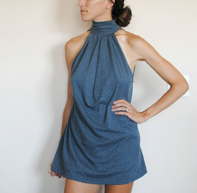 Trash To Couture: DIY Choker Dress from T-Shirt  (For me, it would be better as a top)