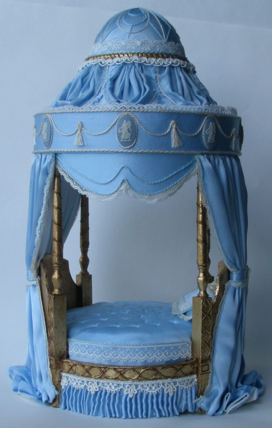 Adams Wedgewood Bed - $1,695.00 : Swan House Miniatures, Artisan Miniatures for Dollhouses and Roomboxes