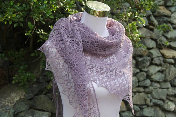 Hand Knitted Lace Shawl/Wrap made in smooth and silky yak yarn in Lavender colour