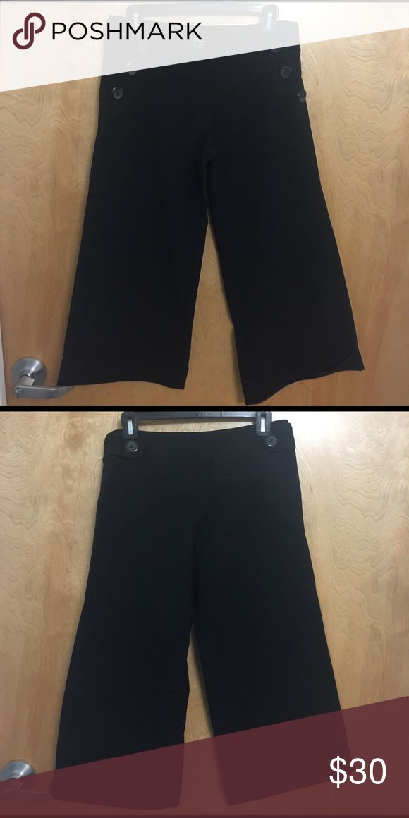 Guess Women's Capri Pants Dressy wide leg, cuffed Capri Pants with three diagonal buttons in the front on each side and one button in each side in the back Guess Pants Capris