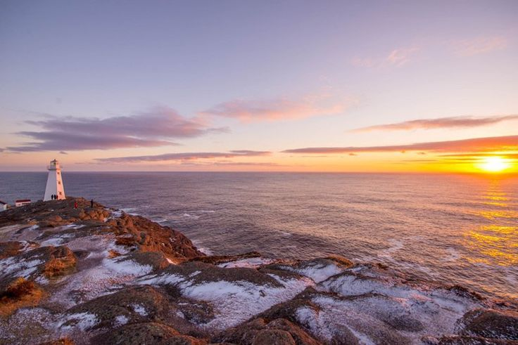 First sunrise in Canada over Parks Canada Cape Spear National Historic Site