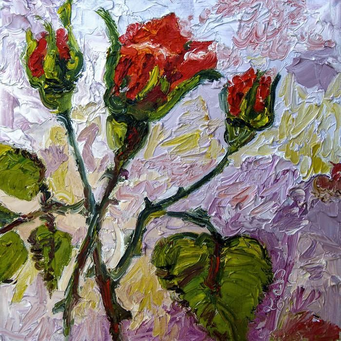 Red Roses and Rose Buds French Impressionist Original Oil Painting by Ginette Callaway