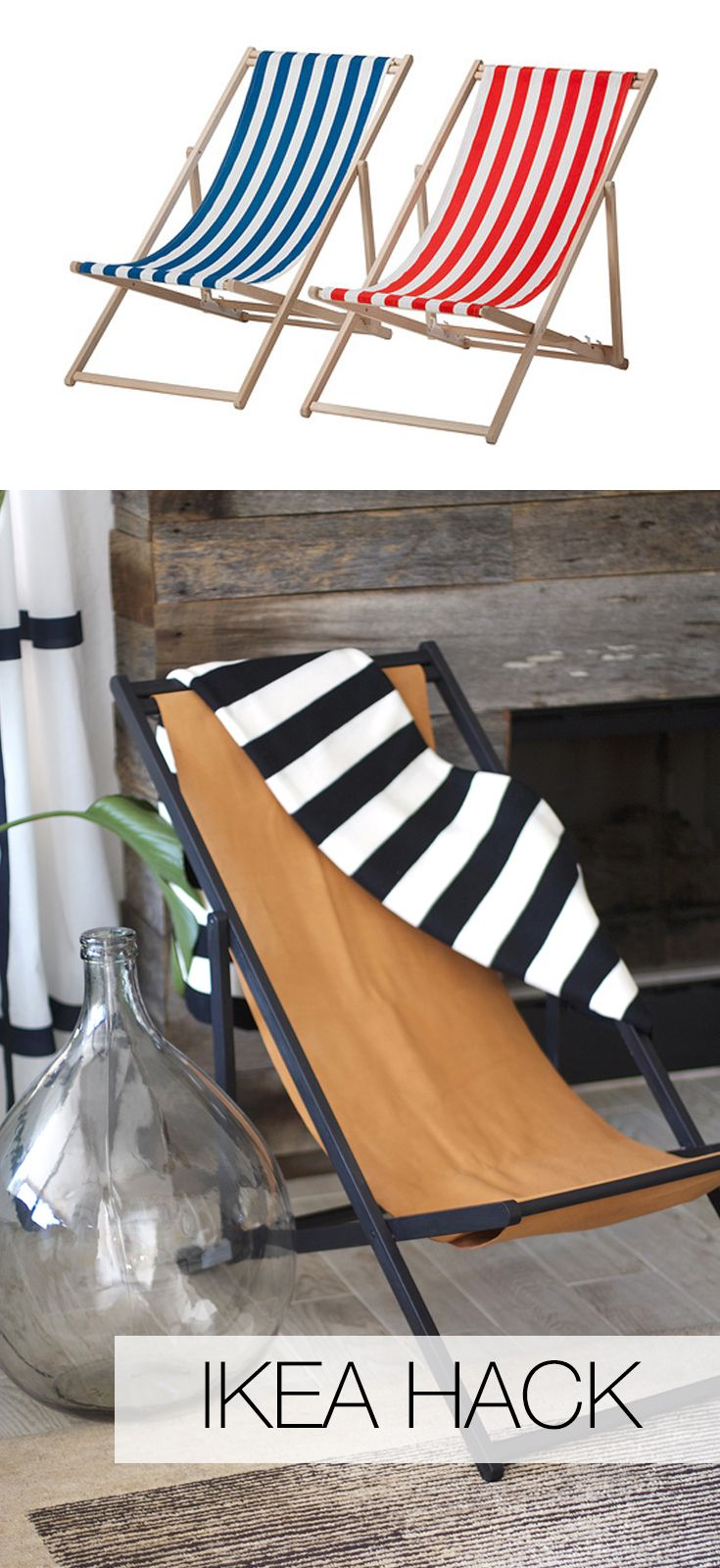 Beach Chair to Leather Slingback Chair | IKEA Hack | Kristi Murphy | http://www.kristimurphy.com/blog/diy-leather-chair
