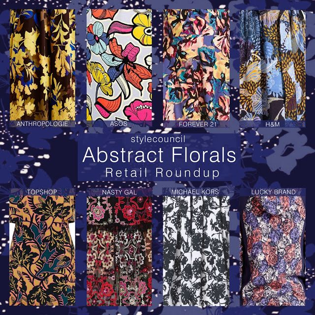 Style Council : The abstract floral trend includes, big silhouettes, a pop art style, tattoo like foliage, and some conceptual camouflage.  Each print is unique with bold impactful style.