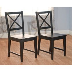 Black Cross Back Dining Chairs (Set of 2)