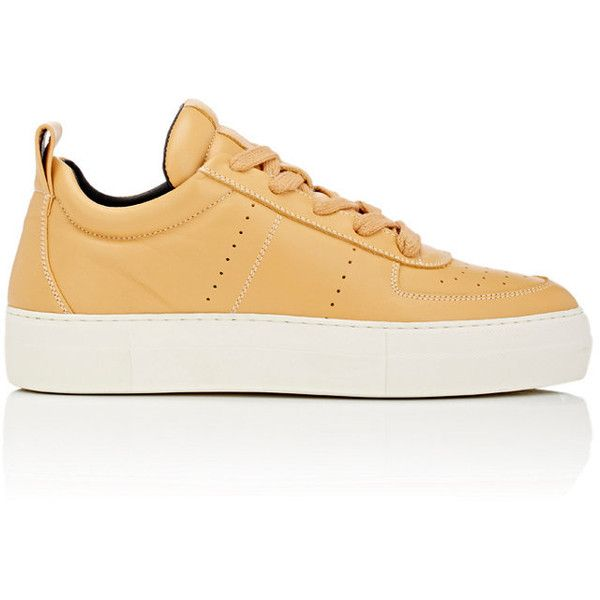 Helmut Lang Women's Leather Platform Low-Top Sneakers ($239) ❤ liked on Polyvore featuring shoes, sneakers, leather sneakers, leather lace up shoes, platform shoes, perforated leather shoes and platform trainers