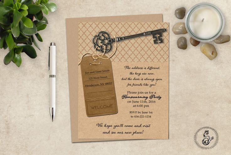 Rustic House Warming Invitation, New House Announcement, Key to Home HouseWarming Party Invitation by SugarSpiceInvitation on Etsy https://www.etsy.com/listing/244425069/rustic-house-warming-invitation-new